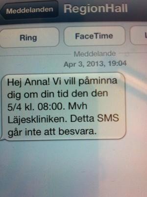 SMS-påminnelse på Läjeskliniken, Varberg