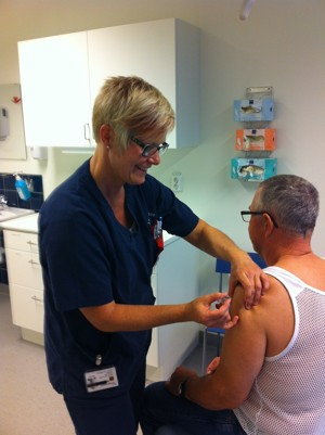 Influensavaccination på Läjeskliniken i Träslövsläge, Varberg