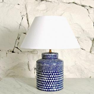 Lampa, blå/vit fot