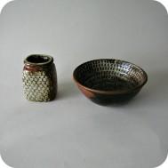 Stig Lindberg,  stoneware vase and bowl