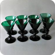 8 antique dark green wine glasses