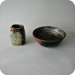 Stig Lindberg,  stoneware vase and bowl ...........2 300 SEK