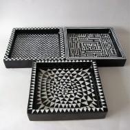 Stig Lindberg, Gustavsberg, Domino three plates