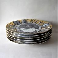 Piero Fornasetti Six plates Grandi Maestri