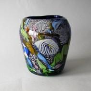 Vase with blue underlay
