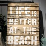 Life is better at the beach, tavla i trä 40x60 cm