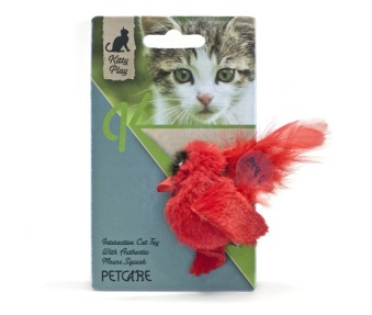 Kitty play squeaking red bird - Kitty play squeaking red bird