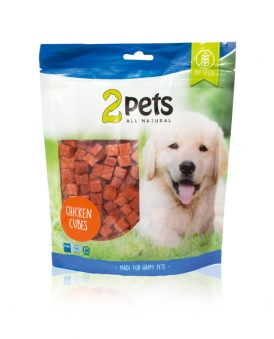 2pets Dogsnack Chicken Cubes - 400 gr