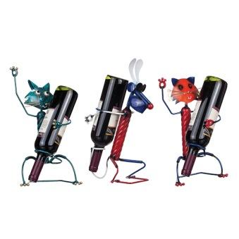 Flaskhållare katt/hund i hamrad plåt - Röd katt