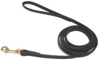 Läder sytt svart mässing - 12mm/180cm