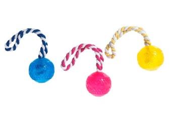 Leksak boll i rep 7cm - blå