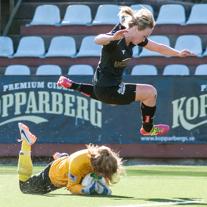 Sofia Skog flög högst mot FC Rosengård och gjorde 2 mål i matchen.