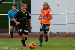 Sara Lindén på språng mot Kungsbacka DFF 2013.