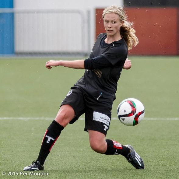 Rebecka Bomqvists mål i den sjunde minuten avghjorde matchen mot Mallbacken. Foto: PER MONTINI