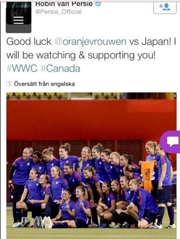 Robin van Persies hälsning till det holländksa VM-laget på Twitter!