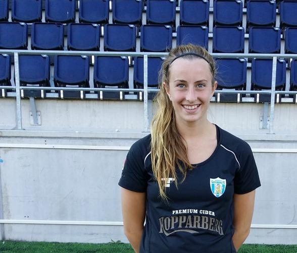 Olivia Sultan gjorde sitt första mål för KGFC i förlustmatchen mot Linköping. Foto: Anna Stoltze