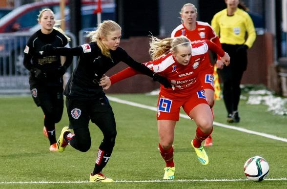 Maja Göthberg kom till KGFC i oktober. Nu ställs hon mot sitt  gamla lag – Hovås/Billdal besöker Valhalla IP för en träningsmatch på tisdagen. Foto. PER MONTINI