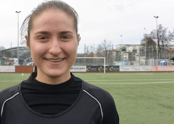 Senast in i KGFC-truppen är Irvinia Bajramovic, värvad från IK Rössö i Uddevalla. I matchen mot Kristianstad fick hon sitt tredje inhopp i laget –och ser riktigt spännande ut. Foto: TORE LUND
