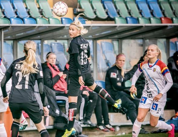 Marika Bergman Lundin var en av tjejerna från a-truppen som deltog i bortamatchen mot Växjö på måndagen. Foto: JESPER PRYTZ