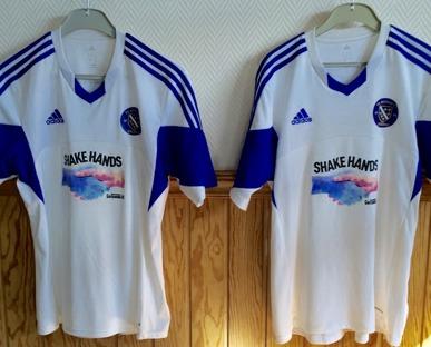 Matchtröjor från FK Bosna 92 med Shake Hands på bröstet! Foto: MIRZA NUHIC