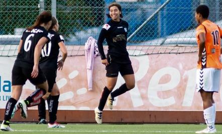Annahita Zamanian gjorde sitt andra allsvenska mål i karriären. Den här gången viktiga 2-1 i slutet av matchen. Foto: PER MONTINI