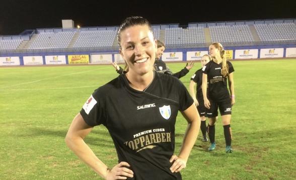 KGFC vann matchen på Gran Canaria på måndagskvällen - bland annat efter 8 (!) mål av Pauline Hammarlund. Foto: LASSE SVENSSON