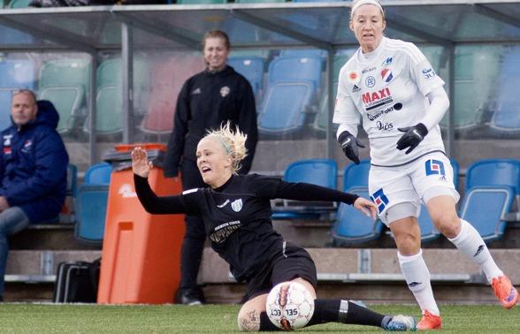Fighting Face Adde! Nu går den finska landlagsspelaren in i sin tredje säsong i Kopparbergs/Göteborg FC – och hon blir bara bättre och bättre. Foto: PER MONTINI