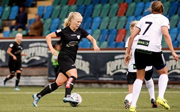 Adelina Engmans mål gav KGFC segern mot Piteå när allsvenskan startade om efter sommaruppehållet. Foto: PER MONTINI