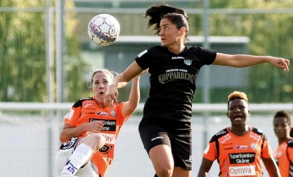 Fighting spirit och krigarblick. Irvina Bajramovic får illustrera den inställning som KGFC måste ha i säsongens fyra sista matcher. Foto: PER MONTINI
