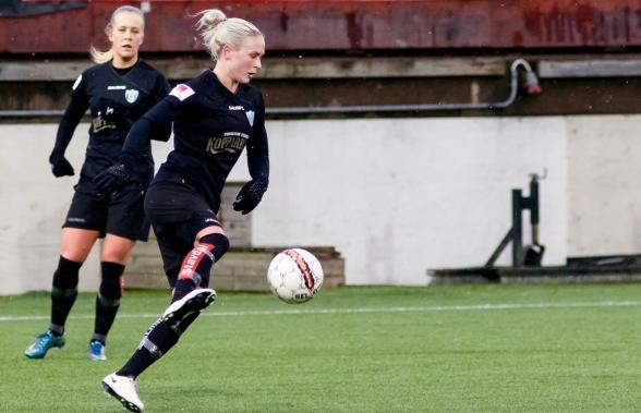Filippa Curmark gjorde KGFC:s mål i träningsmatchen mot Hjörring, som slutade 1-3. Foto: PER MONTINI