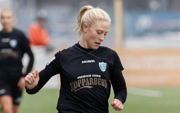 Rebecka Blomqvist gjorde KGFC:s mål och hade utöver det ytterligare flera heta lägen. Foto: PER MONTINI
