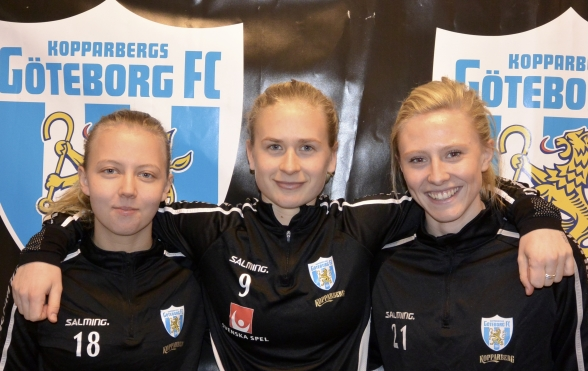 Tre tjejer som nu gör sällskap till den kommande samlingen med det svenska U23-landslaget – Nathalie Persson, Filippa Curmark och Rebecka Blomqvist. Foto: TORE LUND