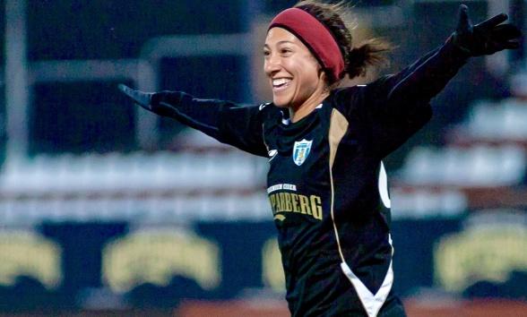Mål direkt i comebacken! Härlig återkomst i KGFC för Christen Press. Foto: PER MONTINI