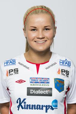 Amanda Johnsson-Haahr, som vanligt inblandad i det mesta framåt. Fick idag lämna planen mållös.