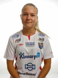 Emmy Zetterberg blev enda målskytt i hemmalaget efter sitt tidiga ledningsmål. Foto: Anders Nilsson