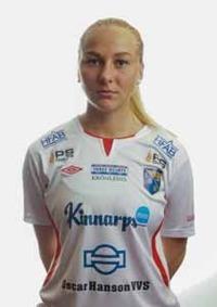 Alva Hed blev segerskytt när hon gjorde sitt första mål för Halmia idag. Foto: Anders Nilsson