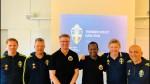 Fr vänster; Utbildare Roger Sandberg tillika scout mot Tyskland inför VM, Målvaktstränare för U21 Leif Truedsson, Anders Wallin, Mohamed Omar, Anders Bengtsson, Ramin Kiani.