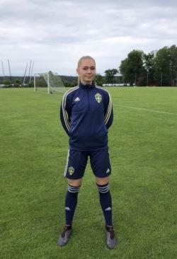 Sofia Voldby i landslagsdressen. Foto: Privat