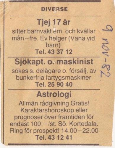 Min första lilla beskedliga annons införd i Kortedalaposten (?)
