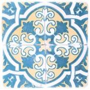 Underlägg med turkos mönster.