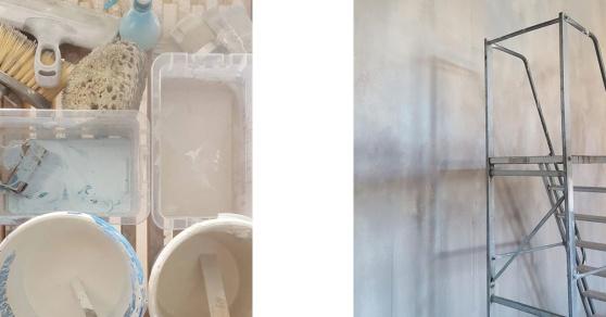 Chalk Paint™ på vägg med effekt som betong eller flagad puts.