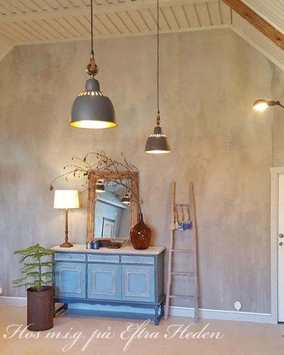 Måla vägg med betonglook, flagad, industriell stil med Annie Sloan Chalk Paint eller Wall Paint.