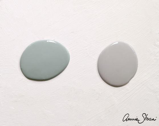 Färgprov på nya Svenska Blue och Chicago Grey, de nya kulörerna från Annie Sloan