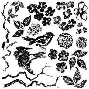 IOD Dekorstämpel Birds Branches Blossoms