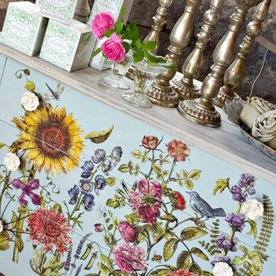 Stort sortiment av IOD Iron Orchid Designs produkter, dekorer för möbler. Ornament, dekortransfers och stämplar gör dina målade möbler unika