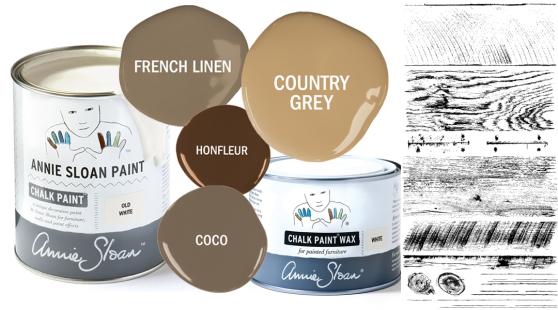 För att måla eller måla om i en lantlig rustik stil är den neutrala Chalk Paint-paletten användbar. French Linen, Country Grey, Coco och Honfleur har ljusats upp med Old White.