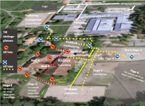 Karta över området vid hopptävling: ute