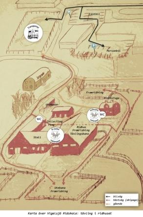 Karta över området: i ridhuset
