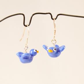 Örhängen Fåglar blå - Ö. Hitte-på-fåglar French blue