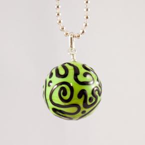 Halsband Kula grön med svarta krumelurer - H. Kula krumelur grön m svart